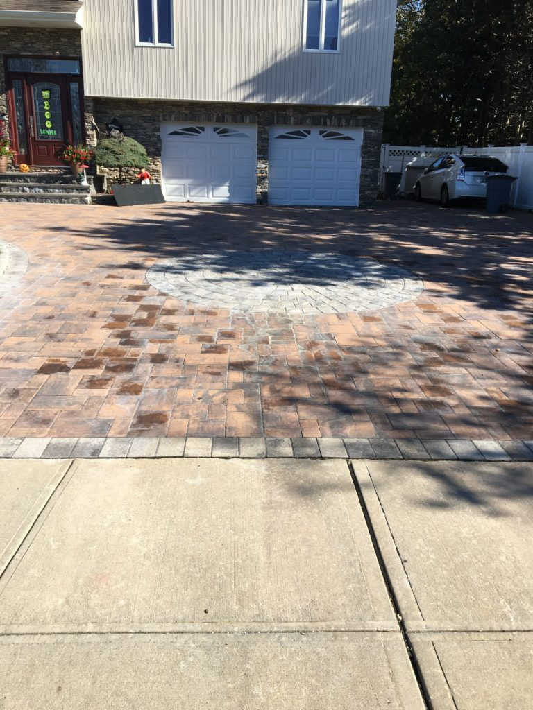 Paver Stone and Stamped Concrete Driveway