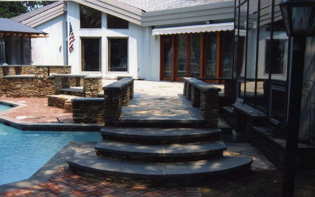 Stone Patio with Steps